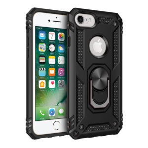 360 Degree Rotating Metal Ring Holder Kickstand Armor Anti-Scratch Bracket Cover Case for IPHONE 7/8- BLACK